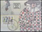 AUSTRIA - CIRCA 1985: A stamp printed in Austria represented Carnival Figures Riding High Bicycles, by Paul Flora, circa 1985 — Stock Photo