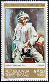 GUINEA - CIRCA 1981: A stamp printed in Republic of Guinea Bissau shows Pierrot Sitting by Pablo Picasso, circa 1981 — Stock Photo