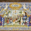 Famous ceramic decoration in Plaza de Espana, Sevilla, Spain. Cadiz theme. — Stock Photo