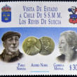 CHILE - CIRCA 1996: A stamp printed in Chile dedicated to visit of the kings of Sweden, shows Pablo Neruda and Gabriela Mistral, Nobel prize, circa 1996 — Stock Photo