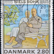 Stock Photo: DENMARK - CIRC1985: stamp printed in Denmark shows Birth Centenary of Niels Bohr, nuclear physicist, circ1985