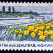 UNITED STATES OF AMERICA - CIRCA 2012: A stamp printed in USA dedicated to Lady Bird Johnson, shows Plant for more Beautiful Highways, circa 2012 — Stock Photo