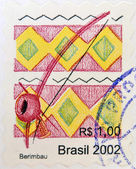 BRAZIL- CIRCA 2002: A stamp printed in Brazil shows a Berimbau, circa 2002 — Foto de Stock
