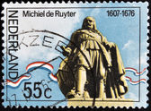 NETHERLANDS - CIRCA 1976: A stamp printed in Holand shows statue of Admiral Michiel Adrianszoon De Ruyter over the sea in Flushing, circa 1976 — Stock Photo
