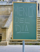 Blackboard announcing daily menu — Stock Photo