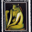 CUBA - CIRCA 2002: A stamp printed in cuba shows portrait of H.H. by Wifredo Lam, circa 2002 — Stock Photo