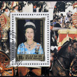 DPR KOREA - CIRCA 1984: A stamp printed in North Korea shows portraits of Queen Elizabeth II, circa 1984 — Stock Photo