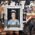 DPR KOREA - CIRCA 1984: A stamp printed in North Korea shows portraits of Queen Elizabeth II, circa 1984 — Stock Photo