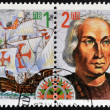 BULGARIA - CIRCA 1992: A stamp printed in Bulgaria shows the frigate ship of Christopher Columbus, circa 1992  — Stockfoto
