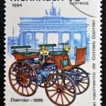 NICARAGUA - CIRCA 1984: A stamp printed in Nicaragua shows retro car, Daimler, 1886, circa 1984 — Stock Photo #35047567