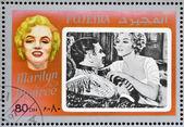 Fujeira - ca 1972: stämpel tryckt i fujeira visar skådespelerskan marilyn monroe, circa 1972 — Stockfoto