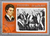 FUJEIRA - CIRCA 1972 : stamp printed in Fujeira shows actor Gerard Philipe, circa 1972 — Foto Stock