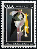CUBA - CIRCA 2002: A stamp printed in cuba shows Emi cosinca by Wifredo Lam, circa 2002 — Stock Photo