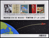 BELGIUM - CIRCA 2004: Stamps printed in Belgium dedicated to Tintin and Destination Moon, circa 2004 — Foto de Stock