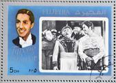 FUJEIRA - CIRCA 1972 : stamp printed in Fujeira shows actor Tyrone Power, circa 1972 — Foto de Stock