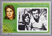 FUJEIRA - CIRCA 1972 : stamp printed in Fujeira shows actress Belinda Lee, circa 1972 — Stock Photo