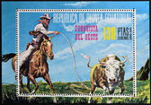 EQUATORIAL GUINEA - CIRCA 1976: stamp printed in Equatorial Guinea, shows the conquest of the West, circa 1976 — Foto de Stock