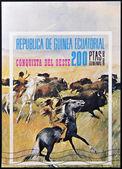 EQUATORIAL GUINEA - CIRCA 1976: stamp printed in Equatorial Guinea, shows the conquest of the West, circa 1976 — Stock Photo