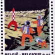 BELGIUM - CIRCA 2004: Stamp printed in Belgium dedicated to Tintin and Destination Moon, circa 2004 — Photo