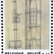 BELGIUM - CIRCA 2004: Stamp printed in Belgium dedicated to Tintin and Destination Moon shows space rocket, circa 2004 — Stock Photo