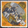 CUBA - CIRCA 2003: A stamp printed in Cuba dedicated to the wine shows a gathering of friends drinking, circa 2003 — Stock Photo