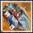 CUBA - CIRCA 2003: A stamp printed in cuba dedicated to Cuban cigars, shows a woman offering snuff, circa 2003    — Stock Photo