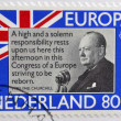 HOLLAND - CIRCA 1980: A stamp printed in Netherlands shows Sir Winston Churchill, circa 1980 — Stock Photo