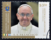 ARGENTINA - CIRCA 2013: A stamp printed in Argentina shows pope Francis I, circa 2013 — 图库照片