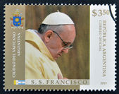 ARGENTINA - CIRCA 2013: A stamp printed in Argentina shows pope Francis I, circa 2013 — Stock Photo