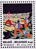 BELGIUM - CIRCA 2004: Stamp printed in Belgium dedicated to Tintin and Destination Moon, circa 2004 — Stock Photo