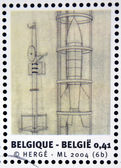 BELGIUM - CIRCA 2004: Stamp printed in Belgium dedicated to Tintin and Destination Moon shows space rocket, circa 2004 — Stok fotoğraf