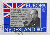 HOLLAND - CIRCA 1980: A stamp printed in Netherlands shows Sir Winston Churchill, circa 1980 — Stock fotografie