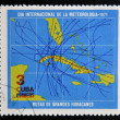 Stock Photo: CUB- CIRC1971: stamp printed in Cubdedicated to International Day of meteorology, shows map of Cubwith path of great hurricanes, circ1971