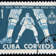CUBA - CIRCA 1963: A stamp printed in Cuba dedicated to Pan American Games in Sao Paulo, Brazil, shows  baseball — Stock Photo