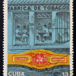 CUBA - CIRCA 1970: A stamp printed in Cuba shows tobacco factory, circa 1970  — Stock Photo