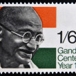 UNITED KINGDOM - CIRCA 1969: a stamp printed in Great Britain shows Mahatma Gandhi and flag of India, circa 1969 — Stock Photo