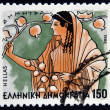 "GREECE - CIRCA 1986: A stamp printed in Greece from the ""Gods of Olympus"" issue shows goddess Demeter, circa 1986. — Stock Photo"