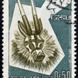 BURKINA FASO - CIRCA 1960: A stamp printed in Burkina Faso shows mask, circa 1960 — Stock Photo