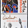Stock Photo: HOLLAND - CIRC1988: stamp printed in Netherlands shows Fallen Horse Painting by Constant, Artist Belonging to Cobra, circ1988