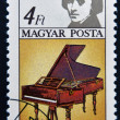 HUNGARY - CIRCA 1985: A stamp printed in Hungary shows image of the famous composer Frederic Chopin and piano, circa 1985 — Stock Photo