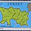 Stock Photo: JERSEY - CIRC1976: stamp printed in Jersey shows map of parishes of Jersey, circ1976