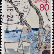 JAPAN - CIRCA 2003: A stamp printed in Japan shows Screen art depicting return of Commodore Perry fleet to Japan, circa 2003 — Stock Photo