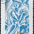Stock Photo: KYRGYZSTAN - CIRC1995: stamp printed in Kyrgyzstshows beauty Kendzheke of Manas epic, circ1995