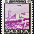 MOROCCO - CIRCA 1940: A stamp printed in Morocco shows the Souks, Marrakesh, Morocco, circa 1940 — Stock Photo
