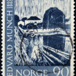 Постер, плакат: NORWAY CIRCA 1963: A stamp printed in Norway shows Painting Three girls on the Bridge by Edvard Munch circa 1963