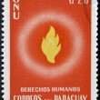 PARAGUAY - CIRCA 1960: A stamp printed in Paraguay dedicated to protection of human rights by the United Nations, circa 1960 — Foto Stock