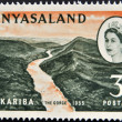 RHODESIA AND NYASALAND - CIRCA 1955: A stamp printed in Rhodesia  shows Kariba, the gorge and Queen Elizabeth II, circa 1955  — Stock Photo