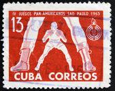 CUBA - CIRCA 1963: A stamp printed in Cuba dedicated to Pan American Games in Sao Paulo, Brazil, shows baseball — ストック写真