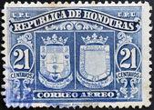 HONDURAS - CIRCA 1970: A stamp printed in Honduras shows historical shields, circa 1970 — Foto Stock