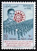伊拉克-大约 1949年: 一张邮票,印在伊拉克显示图像的军乐队,大约在 1949年 — 图库照片